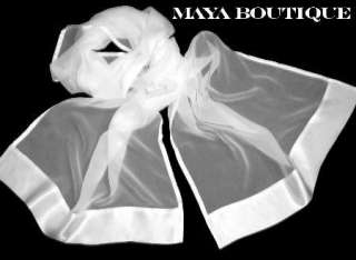MAYA BLACK CHIFFON SILK SHAWL SCARF WRAP SATIN BORDER