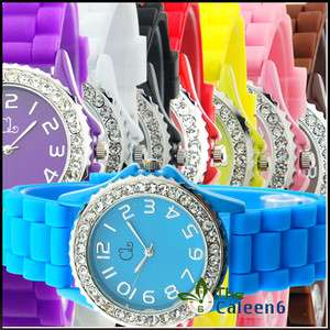 Crystal High Quality Silicone Sports Unisex WristWatches 8 Colors 9666
