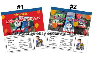 Thomas the train Birthday Candy Bar Wrappers Click here to purchase.