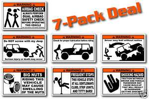 Pack Funny Jeep Warning Stickers Wrangler Unlimited X