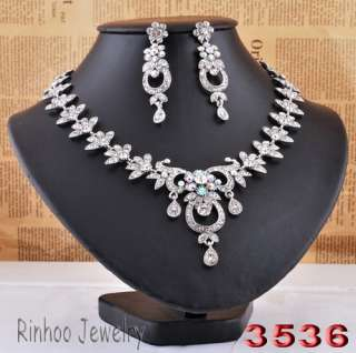 necklace earrings clear rhinestone alloy wedding party jewelry #30240