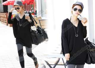 Sexy Fashion Women Cotton Batwing V neck Loose Long Tops T Shirt 2
