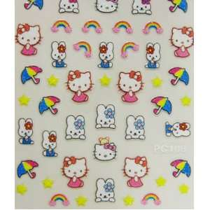 XH Cute and fun hello kitty nail decals stickers rainbow umbrella and