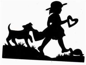 GIRL DOG SILHOUETTE PREMADE SCRAPBOOK DIE CUT