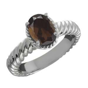 1.20 Ct Oval Brown Smoky Quartz 10k White Gold Ring Jewelry