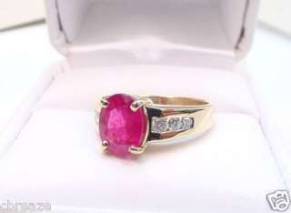 BLOOD RED NATURAL RUBY & DIAMONDS 14K GOLD RING
