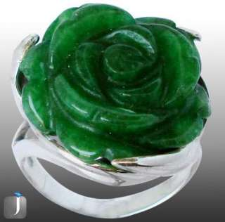 size 8 GREEN CHALCEDONY CARVED FLOWER 925 STERLING SILVER ARTISAN RING