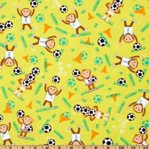 44 Wide Michael Miller Novelties Soccer Monkey Green