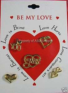 Valentines Day Be My Love Card of 5 Lapel Tac Pin 4587