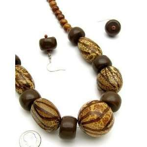 Safari Africa Wood Beaded Giraffe Zebra Print Necklace