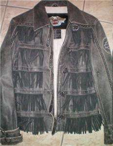 Harley Davidson Leather Jacket Studded Windswept Fringe