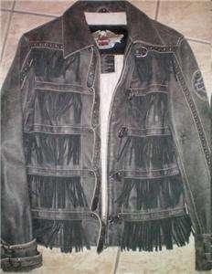 Harley Davidson Leather Jacket Studded Windswept Fringe
