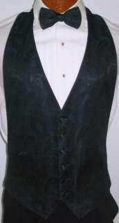Dark Blue Paisley Tuxedo Vest / Tie Prom Wedding 2XL
