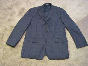 NWOT ALAN FLUSSER BLUE WINDOWPANE WOOL SPORT COAT 42 R