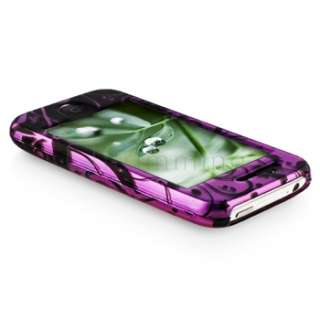 PURPLE HARD CASE BLACK SWIRL SKIN COVER FOR iPHONE 3G S