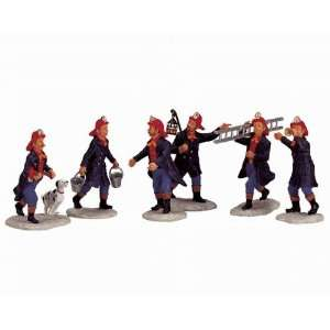 Lemax Christmas Village Collection Fireman 6 Piece Set