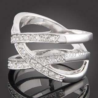 Cross White GOLD Gp Swarovski crystals wedding ring 698