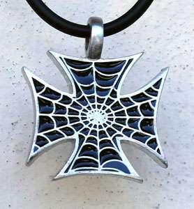 Black Spider Web Iron Cross Biker Pewter Pendant Choker