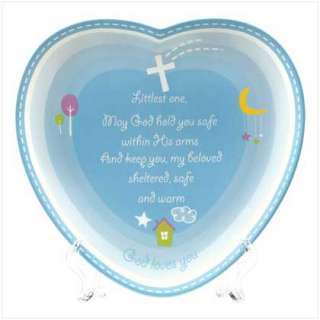 NEW BABY BOY BLUE HEART PROTECTION PRAYER WALL PLAQUE