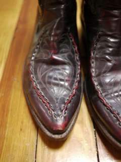 Vtg 60s DAN POST LEATHER Western Cowboy BOOTS 8 41