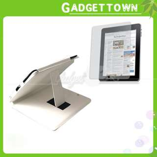 White Leather Case + Screen Protector For Apple iPad US