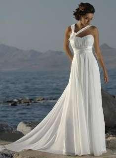 White/Ivory Chiffon A Line Beach Wedding Dresses Prom Formal Dress