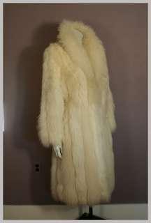 70s 80s Fluffy Genuine White Arctic Fox Fur Coat FULL LENGTH L