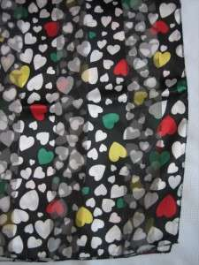 Day Scarf Hearts Black Red White Green Yellow Festive 59 x 13