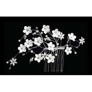 Ivory Flower Side Comb with Rhinestone Sprays S2152M Beauty