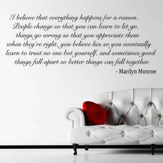 Quote I Believe Wall Sticker Decal Wall Mural Self Adhesive