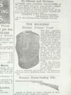 Civil War Bullet Proof Vest 1862 Ad George W. Morgan