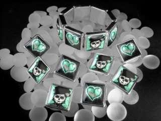 Dia De Los Muertos Broken Heart Charm Bracelet BRS 21