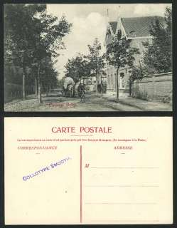 Paysage Belge Cyclist Bicycle & Horse Cart Old Postcard