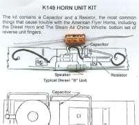 HORN REPAIR KIT GILBERT AMERICAN FLYER TRAINS