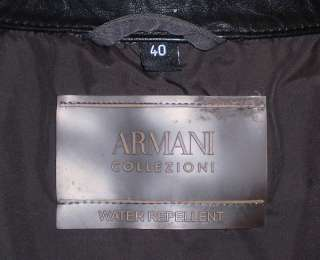 ARMANI COLLEZIONI Mens Water Repellent Leather Trim Jacket 40