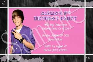 Justin Bieber Custom Birthday Invitation You Print