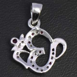9k Pure White Gold Natural Top Red Ruby Diamond Om Pendant Free