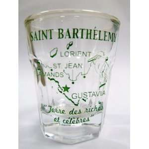 . Barths) Caribbean Vintage Map Outline Shot Glass: Kitchen & Dining
