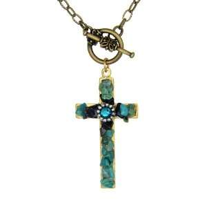Handcrafted Blue/green on Pewter Cross with Blue Rhinestone Necklace