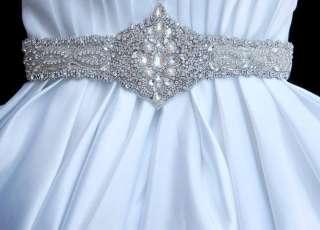 Wedding bridal dress gown beaded jeweled crystal belt sash
