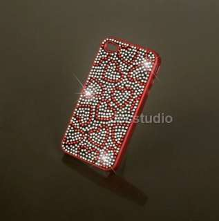 Red Love Heart Crystal Swarovski Rhinestone Hard Cover Case for iPhone