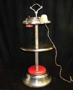 Antique Art Deco Slag Glass Smoke Smoking Stand Table