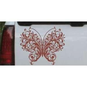 8in X 6.7in Brown    Swirl Butterfly Butterflies Car Window Wall