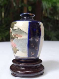 Japanese Satsuma Vase Cobalt Blue Gilt Wood Stand Japan c1920