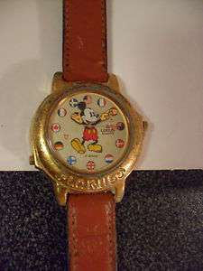 Vintage Lorus Disney Mickey Mouse Watch, musical, world flags, plays