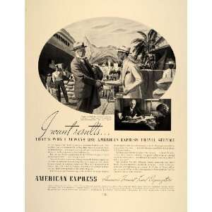 1937 Ad American Express Travel Service Businessman
