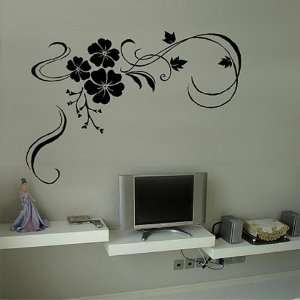 DIY Decorative Wall Sticker Floral Ornaments Swirl Black