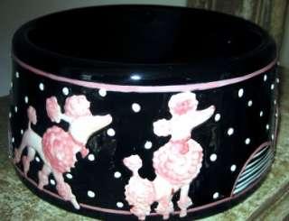 Pink Poodle Pet Dog Dish Black Porcelain Indoor NEW