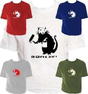 Banksy paint roller rat Tshirt Multi colours s xxl