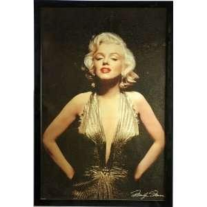 Marilyn Monroe   Gold Dress   Vintage Poster Wood Framed